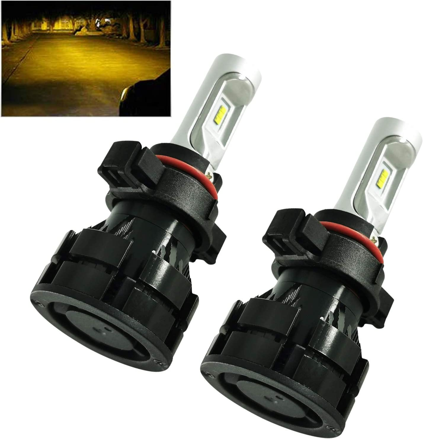 5202 LED Headlight Bulbs 3000K Golden Yellow 60W 10000 Lumens Adjustable Beam Extremely Bright CSP Chips 5200 5201 9009 PSX24W Fog Light Bulbs All-in-One Conversion Kit