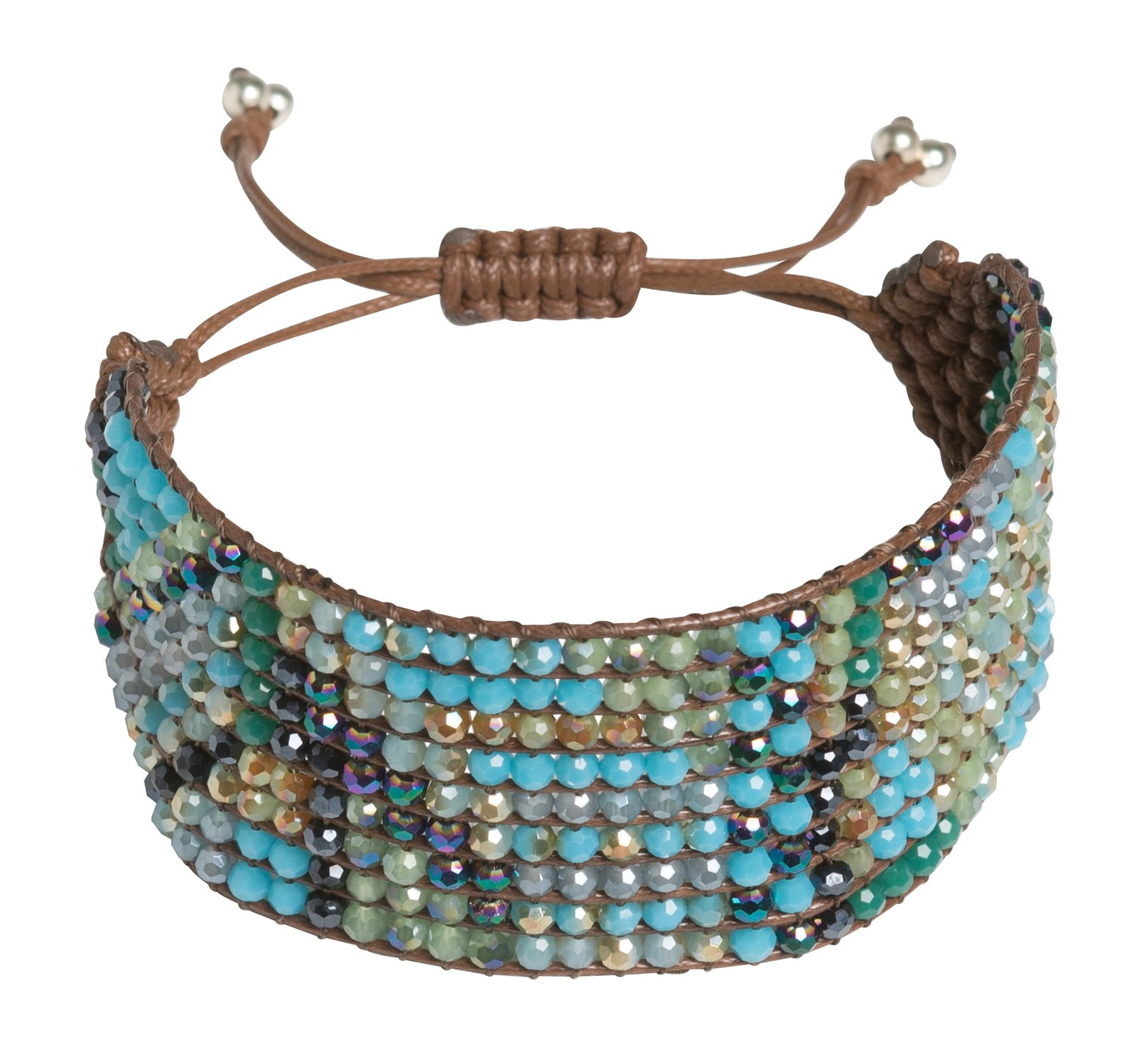 Joop Joop Handmade Crystal Turquoise Boho Beaded Statement Wrap Cuff Bracelet with Slider Opening