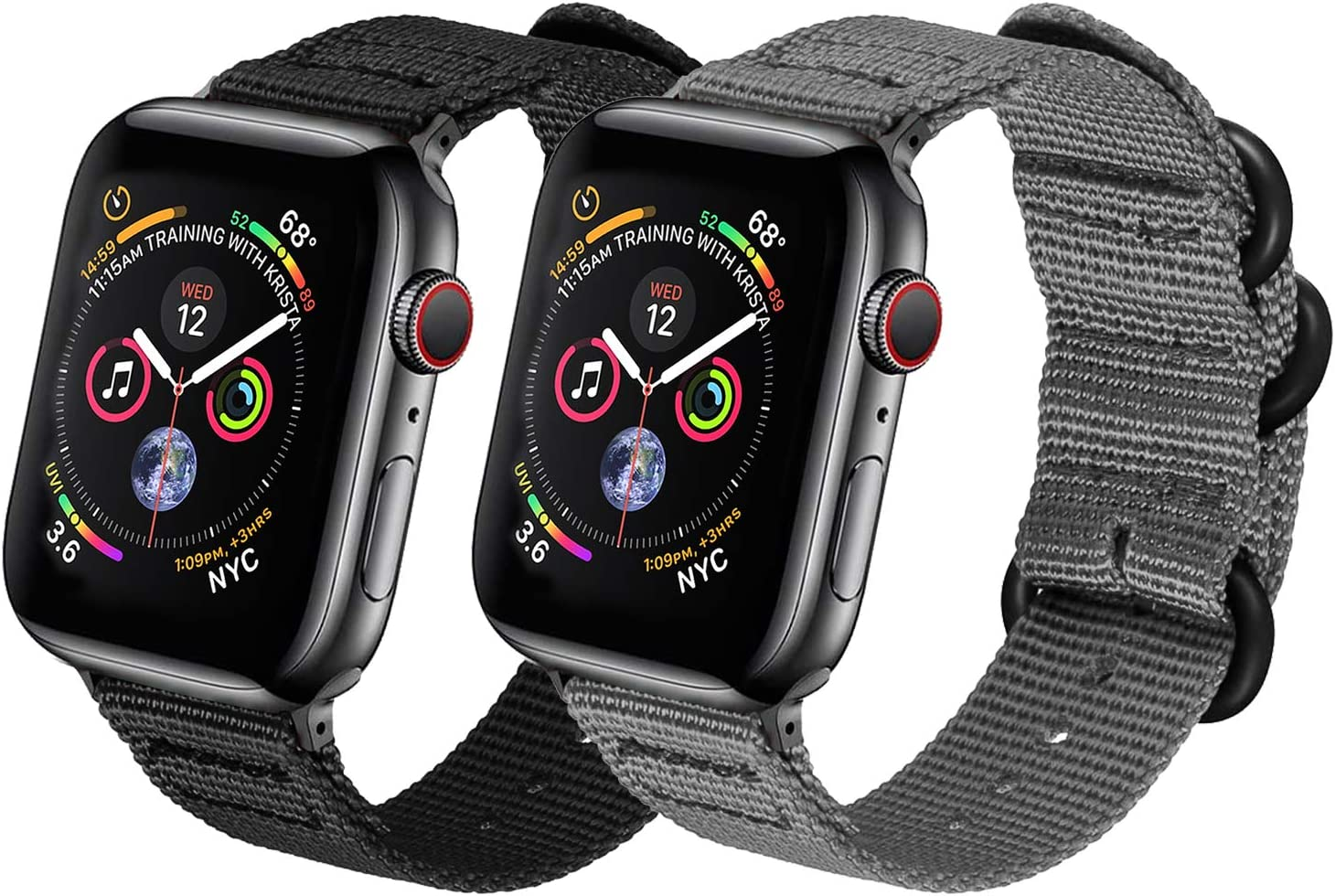 Watpro Compatible with Apple Watch Band 38mm 40mm 42mm 44mm Women Men Nylon Rugged Replacement iWatch Band Military-Style Buckle Grey Adapters for Sport Series 5 4 3 2 1 (2-Black+Gray, 42MM/44MM)