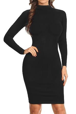 ICONOFLASH Women s Seamless Long Sleeve Mock Neck Open Back Bodycon Dress  (Black d8df68fb2