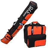 BRUBAKER Superfunction Combo Ski Boot Bag + Ski Bag for Ski up to 170 cm Black Orange