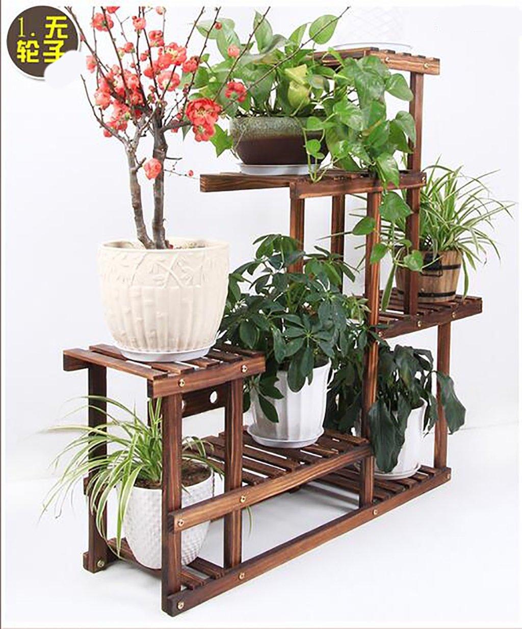 Antiséptico madera flor florero de madera sólida de estante estantes de protección del medio ambiente anticorrosión carbonizado para plantas flores Pot ...