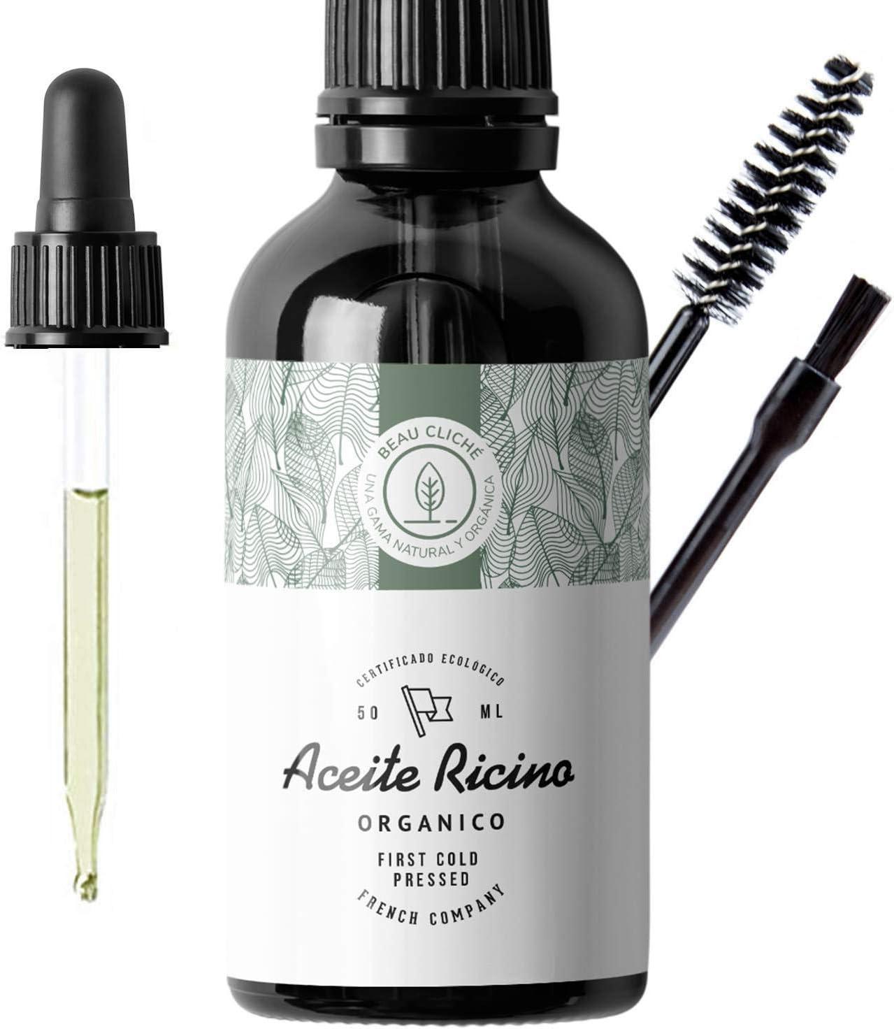 50ml Aceite de ricino orgánico, prensado en frío, puro - Estimula y fortalece el crecimiento del cabello, barba, pestañas, cejas, uñas, cutículas y piel - Botella de vidrio, pincel y brocha