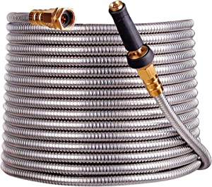 scriptract 100'304 Stainless Steel Garden Hose with Free Removable Brass Nozzle Lightweight Metal Hose - Portable Durable and Resistant to Knots, Tangles and Punctures (100)