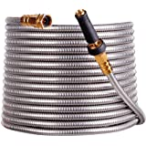 scriptract 50'304 Stainless Steel Garden Hose with Free Removable Brass Nozzle Lightweight Metal Hose - Portable Durable and
