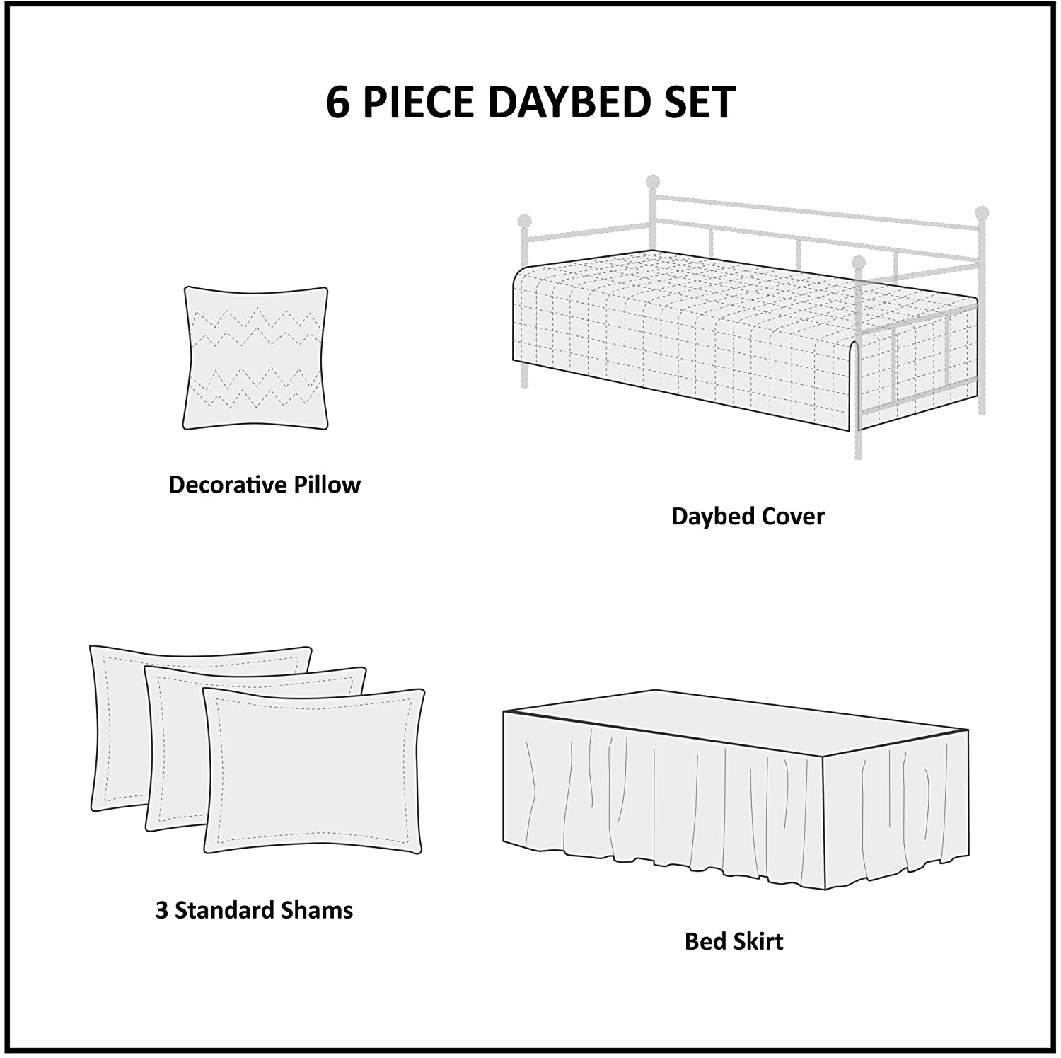 Madison Park Quebec Daybed Size Quilt Bedding Set 6 Piece Bedding Quilt Coverlets Ultra Soft Microfiber Bed Quilts Quilted Coverlet Damask Grey
