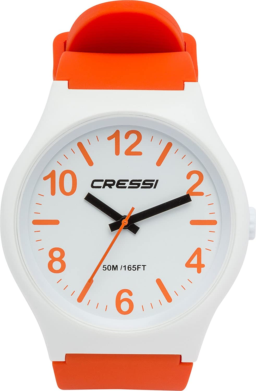 Cressi Watch Echo Reloj Analógico de Cuarzo, Unisex Adulto, Blanco/Naranja/Blanco, Uni