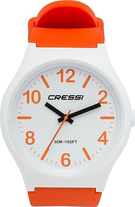 Cressi Watch Echo Reloj Analógico de Cuarzo, Unisex Adulto, Naranja/Blanco, Uni