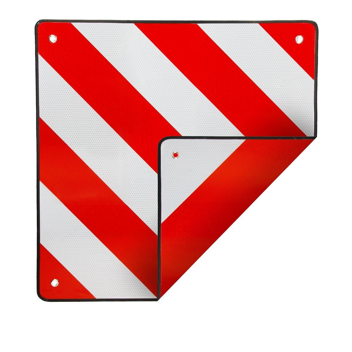 ECD Germany Señal de advertencia trasera Placa para mercancia sobresaliente 50 x 50 cm para Italia y España Reflectante color blanco con bandas rojas