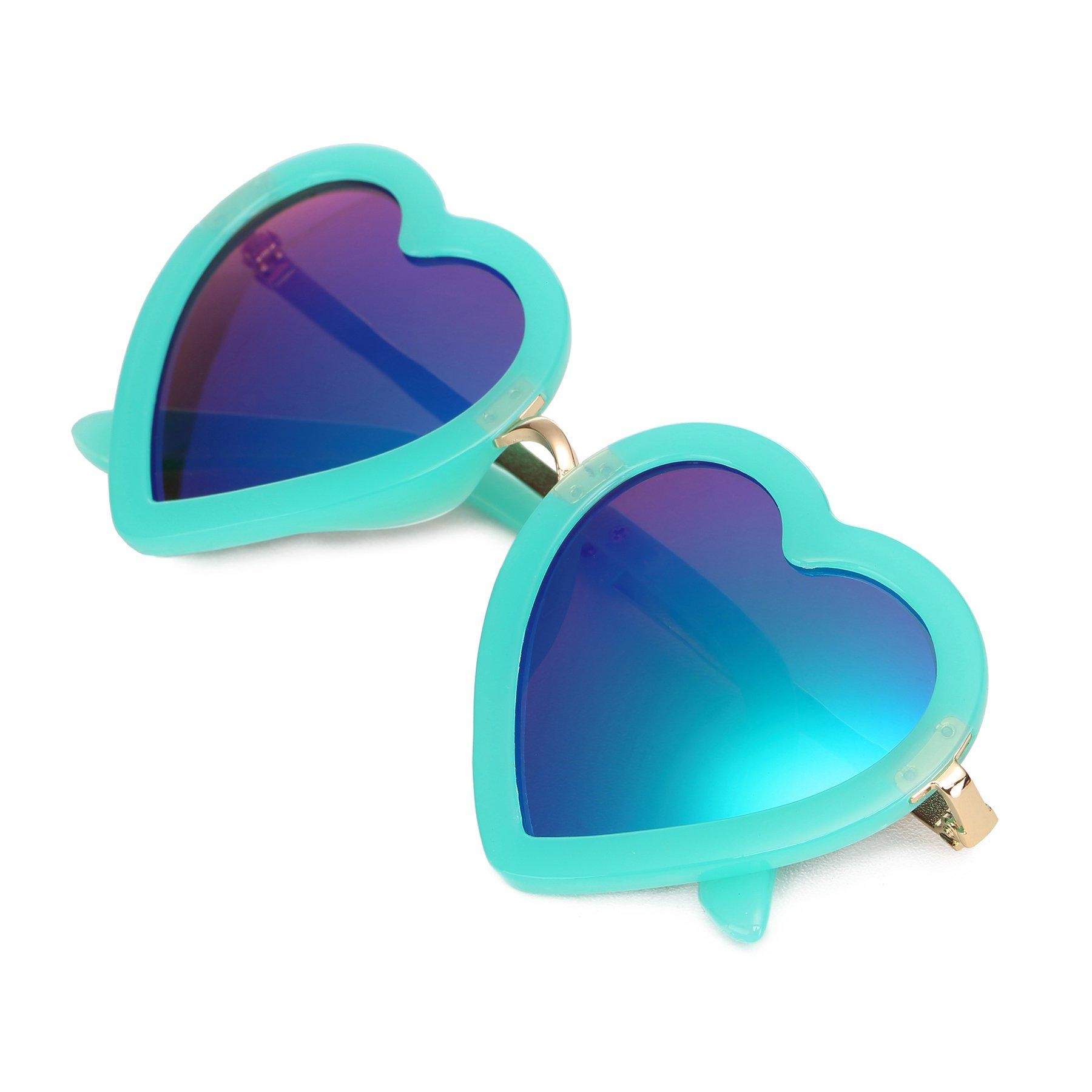 CMK Trendy Kids Trendy Heart Shaped Sunglasses for Toddler Girls Age 3-10 (62015_green)
