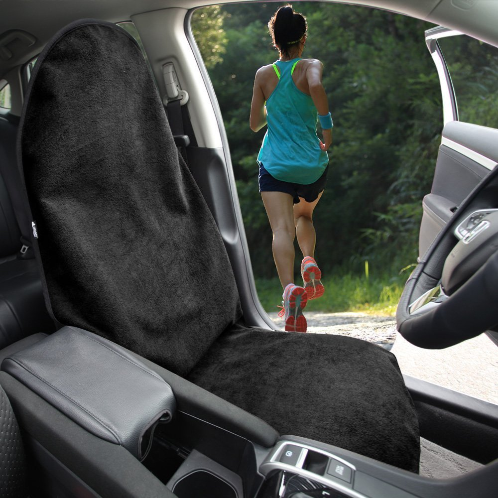 Leader Accessories Waterproof Black Sweat Towel Car Seat Cover Front Bucket Seat Protector Machine Washable Non-Slip Fits for Athletes Running Swimming Boxing Biking Yoga Workout BLACK color