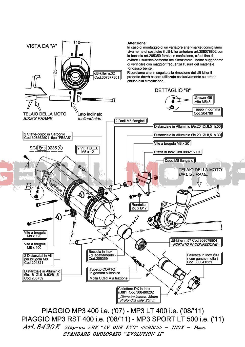 8490E Terminale Scarico Lv One Evo Acc Mp3 500//Business//Lt//Sport 2011  2016