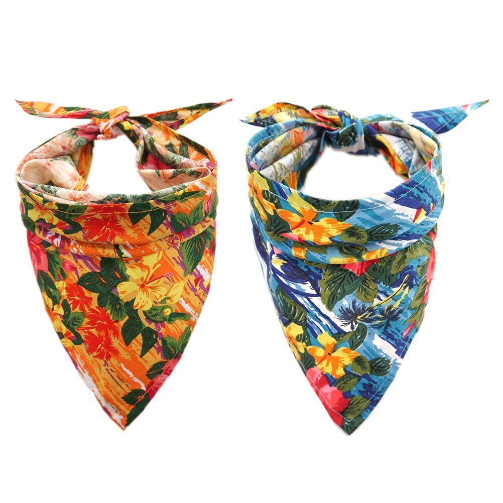 BeMiracle 2 Pack Hawaii Dog Bandana - Fashion Flowers Printing Pattern Triangle Scarf Pet Accessories for Holiday by BeMiracle