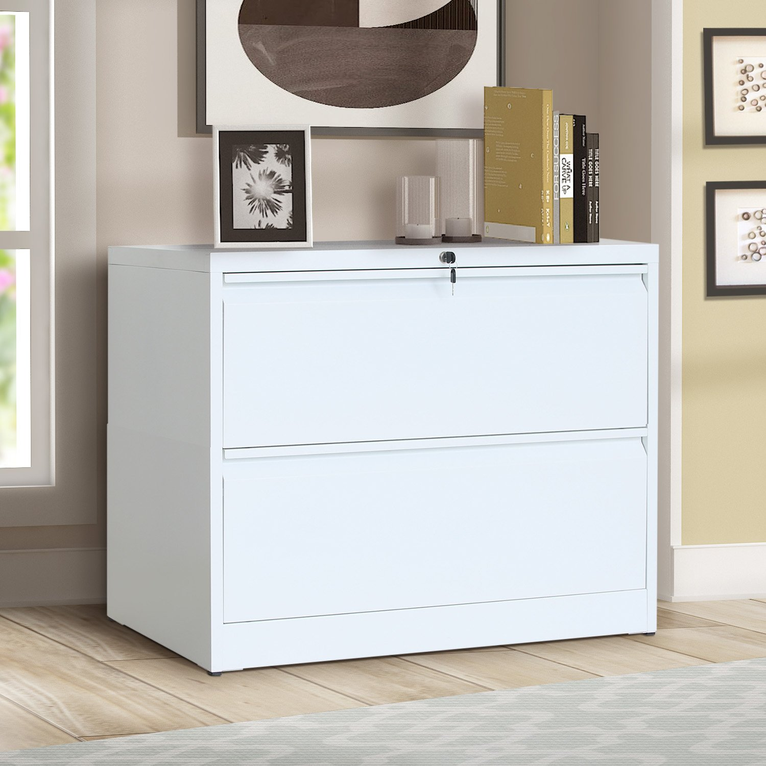 ModernLuxe Lateral File Cabinet 2-Drawer with Lock and Key (White)