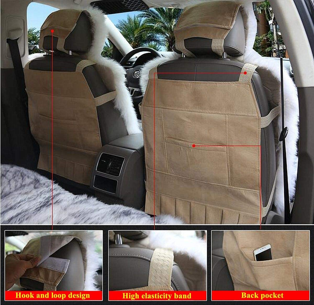 Chemu Car Seat Covers Car Interior Accessories Winter Warm Seat Protector Black for 2018 Chevy Equinox Cruze 2019 Toyota Tacoma TRD PRO Double Cab RAV4 Corolla Camry