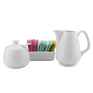 Sugar and Creamer Set - 4-Piece Set w/Cream Pitcher, Sugar Bowl, Spoon & Sweetener Holder, White Ceramic Tea/Coffee Set