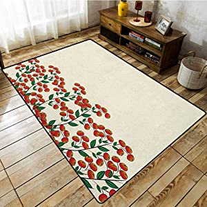 Hallway Rug,Nature,Red Clusterberries in Bush Leaves Garden Christmas Theme Image Print,Anti-Slip Doormat Footpad Machine Washable Olive Green Red and Peach
