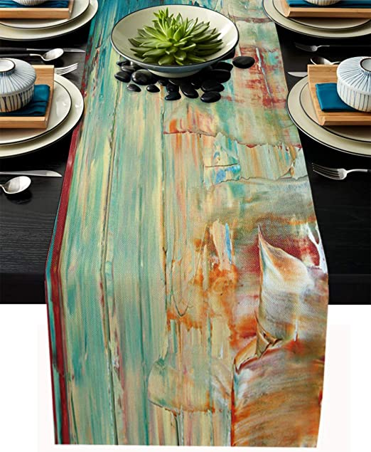 Amazon Com Modern Table Runner Cotton Linen Long 108 Inche Textured Abstract Oil Painting Dresser Scarves Farmhouse Tablerunner For Kitchen Coffee Dining Table Bedroom Home Living Room Holiday Dinner Scarf Decor Home Kitchen