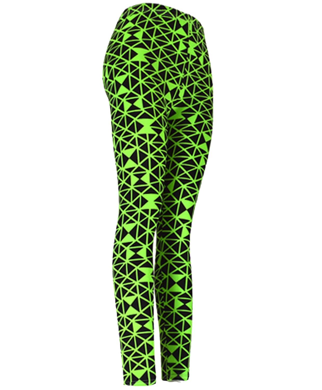 """""""Green Geometric"""" Ladies Footless Printed Leggings"""