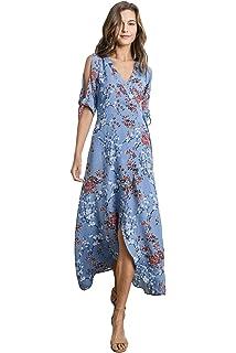 c8b32f16f8 Gilli Women's Cold Shoulder Floral Print Wrap Maxi Dress with Hi-Low Hem