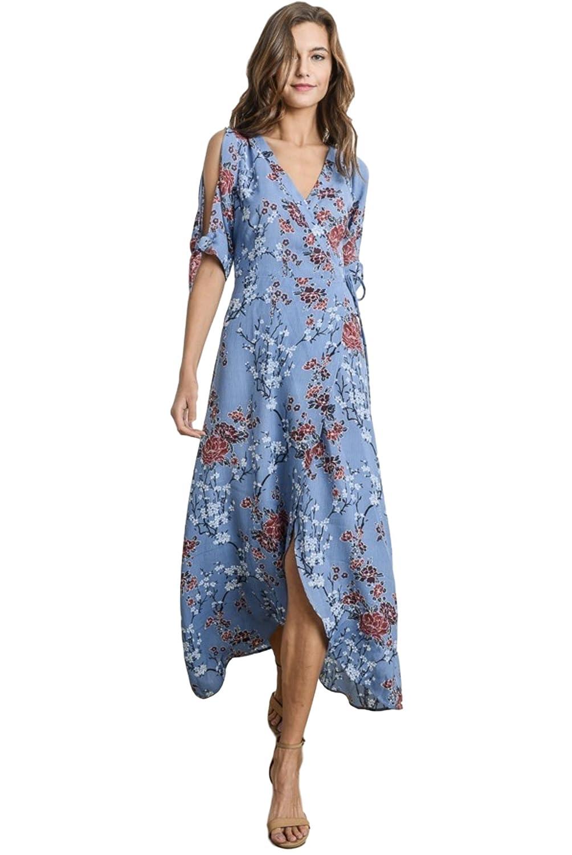 56d6e558e03 Gilli Women's Cold Shoulder Floral Print Wrap Maxi Dress with Hi-Low Hem at  Amazon Women's Clothing store:
