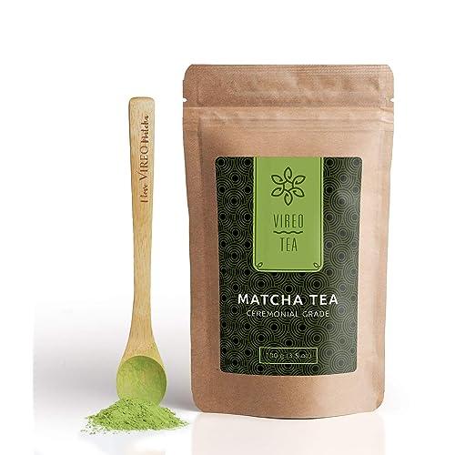 Matcha Tee Pulver aus Japan in Premium Tee-Zeremonie Qualität – 100g original japanischer Grüner Tee für Matcha Tea, Latte, Smoothies, Eis & Schokolade – ideal zum Trinken, Kochen & Backen – von Vireo