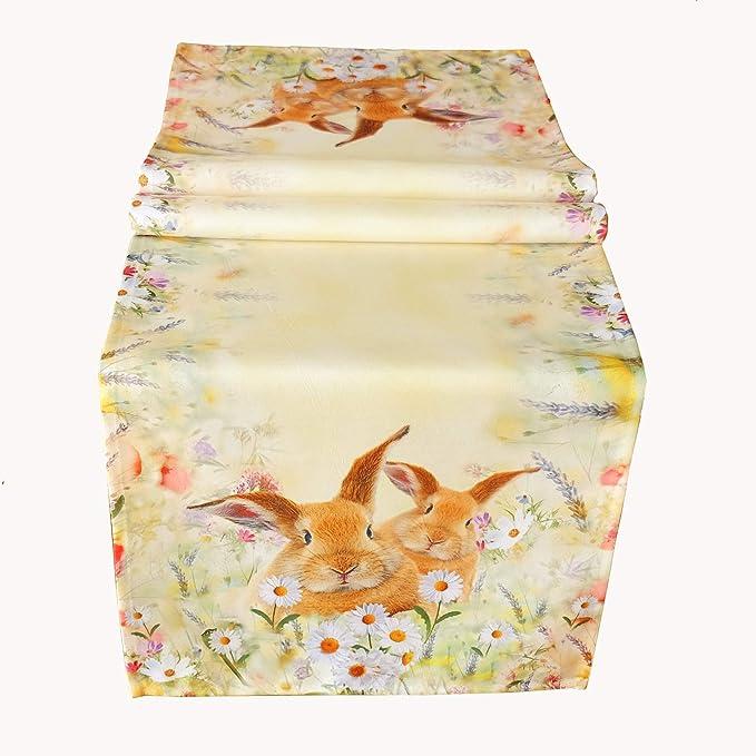 Polyester Taie doreiller 40 x 40 cm Kamaca Collection li/èvres sur pr/é fleuri Linge de table et de maison Motif imprim/é de grande qualit/é avec des lapins mignons au printemps///à P/âques