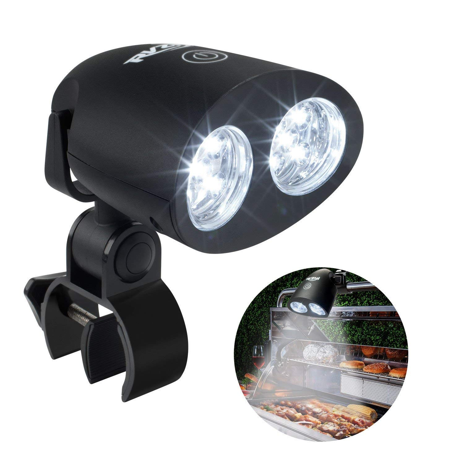 RVZHI Barbecue Grill Light, 360°Rotation for BBQ with 10 Super Bright LED Lights- Heat Resistant,Waterproof,100lm LED BBQ Light for Gas/Charcoal/Electric Grill-Battery Not Include (Black)