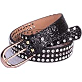 Women Sequin Belts Spatart Rhinestone Jeweled Belts Black Silver Gold