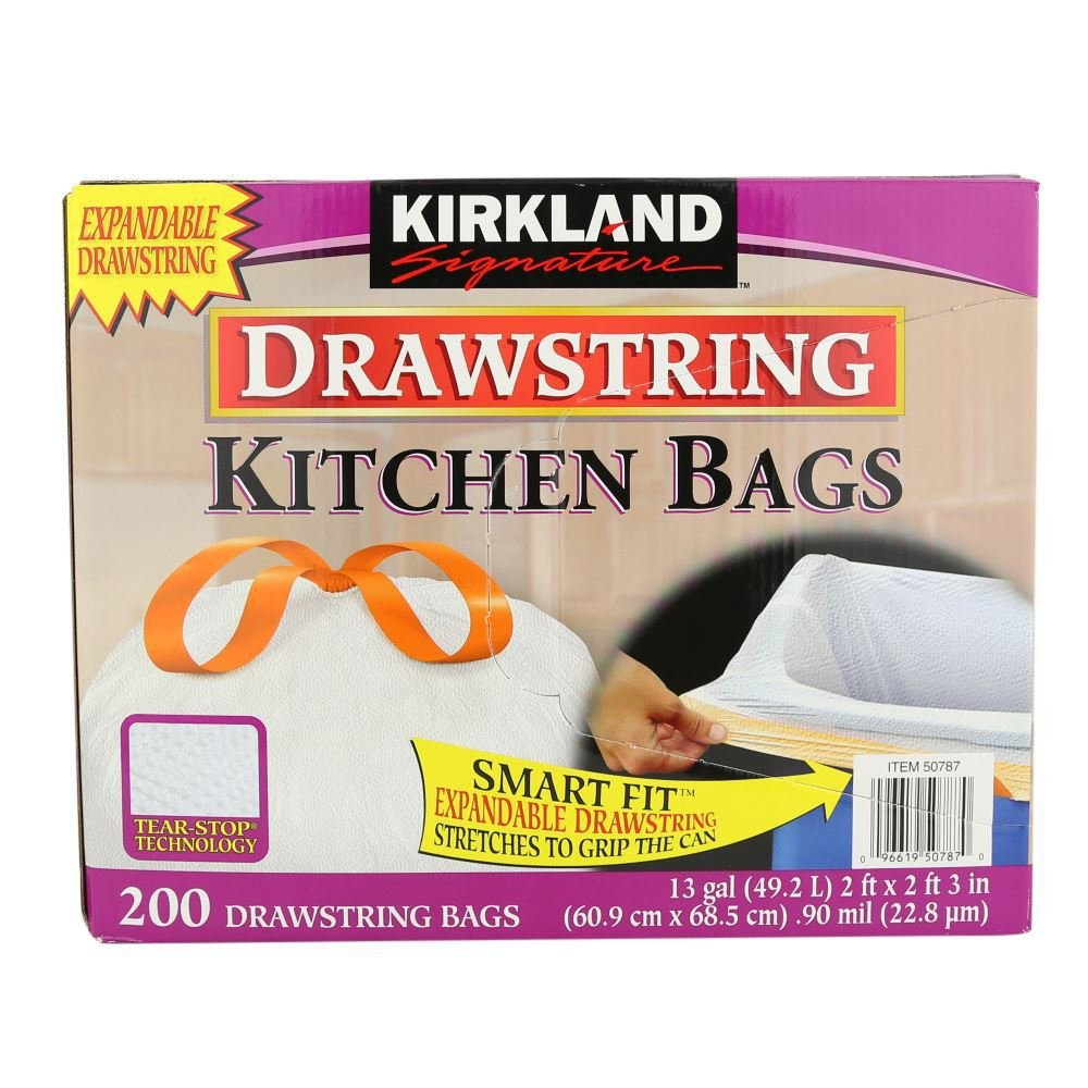 Kirkland Signature  Gallon White Drawstring Kitchen Bag  Count