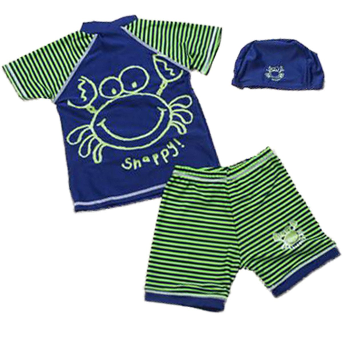 Baby Kids Boys 2 Pieces Short Sleeve Sun Protection Crab Zipper Swimsuit Swimwear cbgdswsansuqqq270