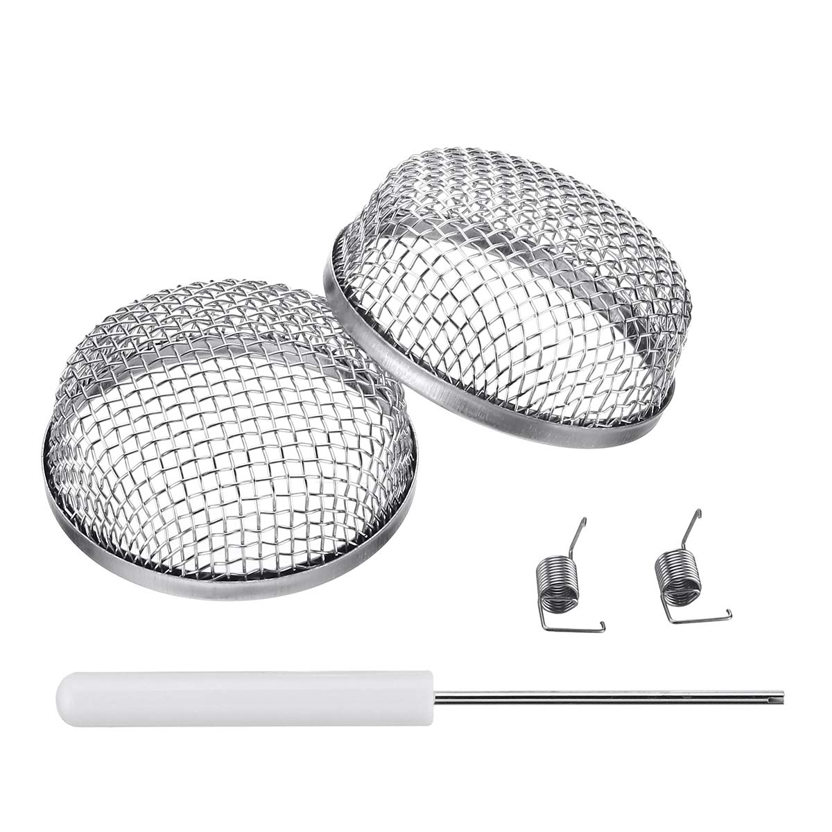"Miady RV Furnace Vent Screen - 2 Pack Flying Insect Bug Cover Camper Heater Exhaust Vents - 2.8"" Stainless Steel Mesh Screens - Installation Tool Included"