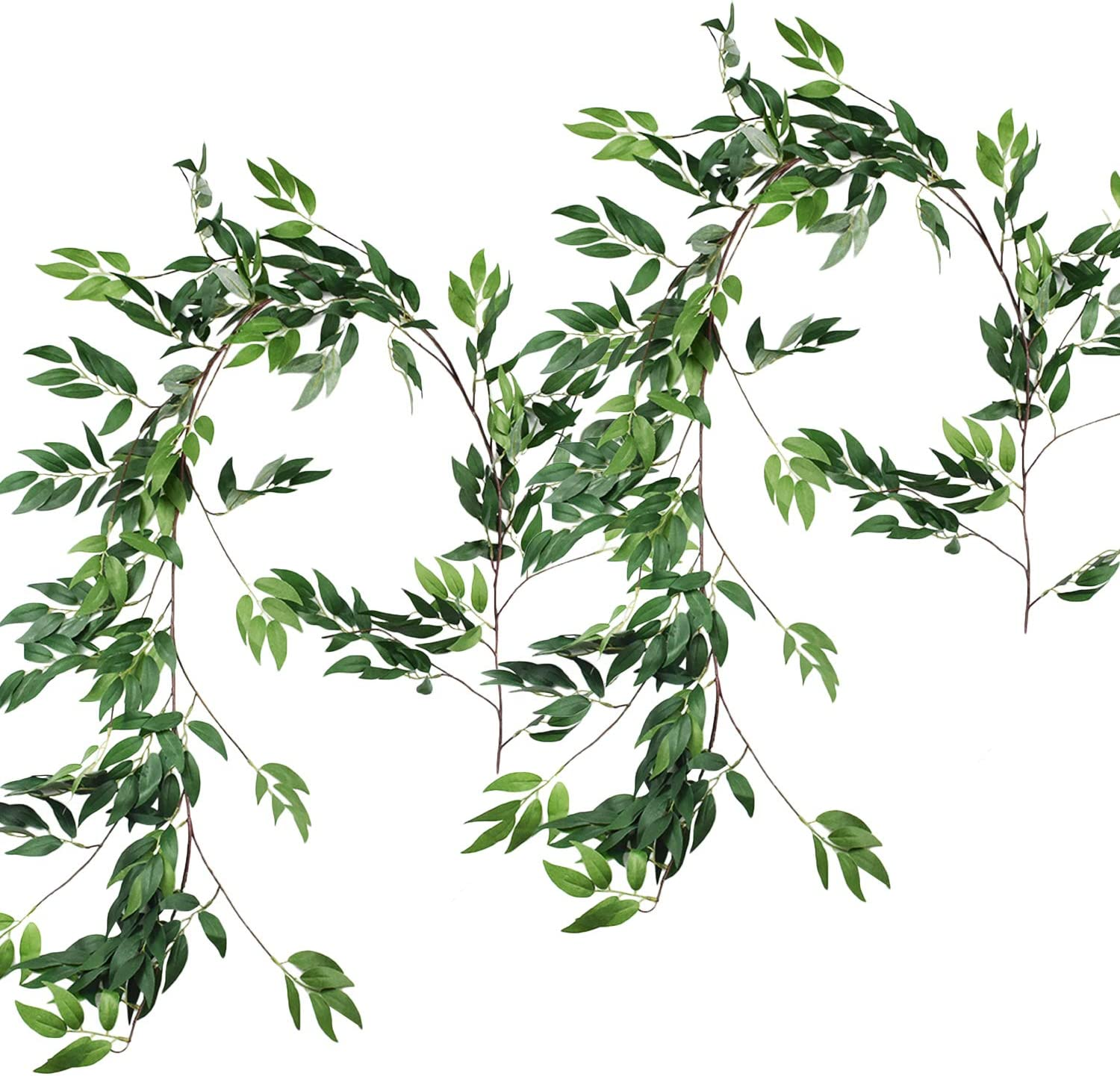 2PCS Artificial Greenery Garland Faux Silk Hanging Willow Leaves Vines Wreath