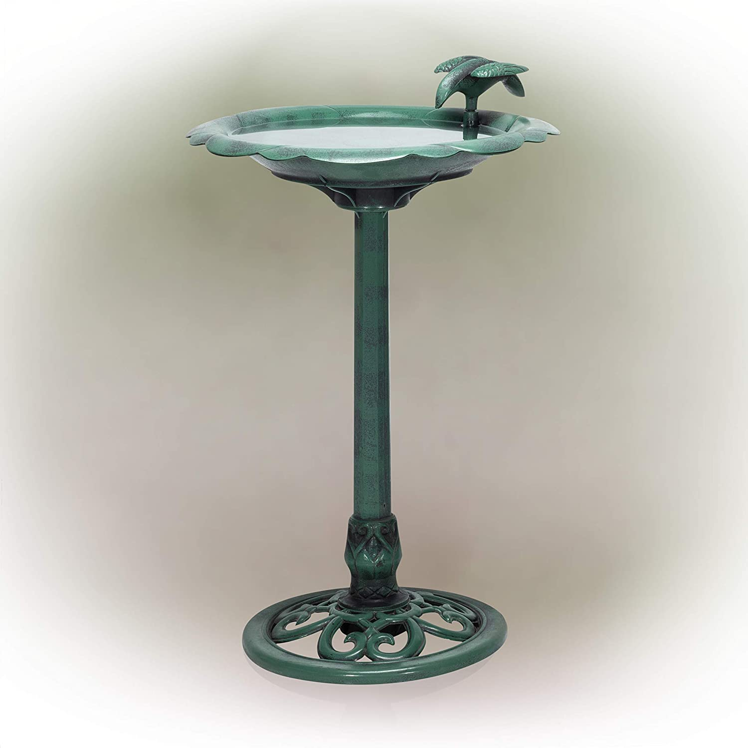 "Alpine Corporation 31"" Tall Outdoor Antique Flower Birdbath with Bird Decoration Yard Statue"