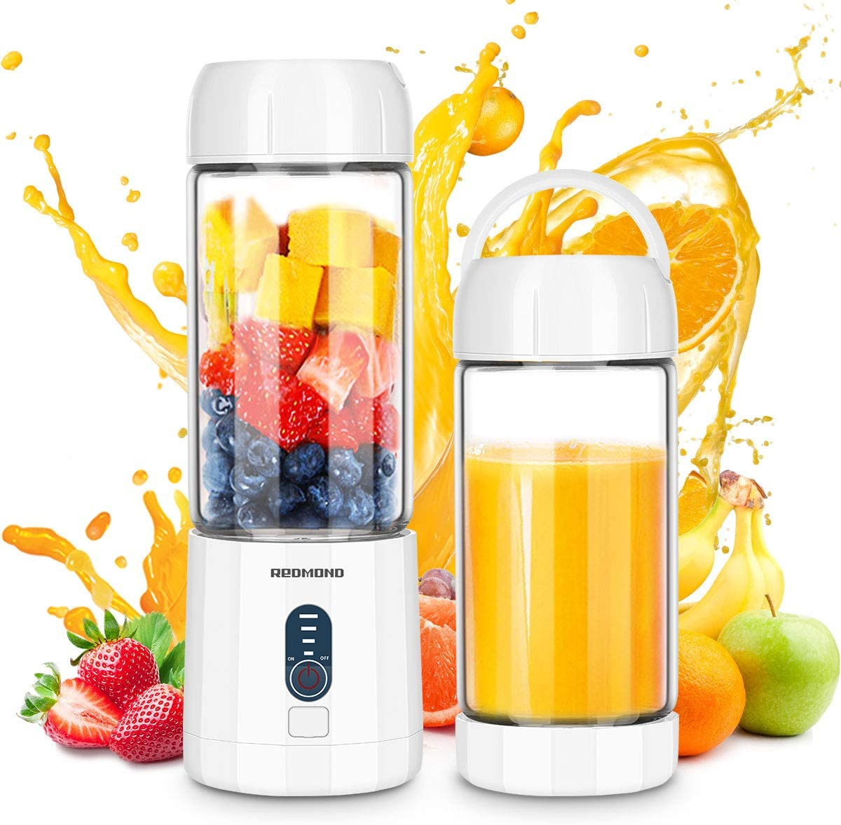 REDMOND Smoothie Blender, 4000mAh Portable USB Rechargeable Blender with 480ml Glass Travel Bottle, 6 Stainless Steel Powerful Blades, Battery Indicator for Shakes and Smoothies Outdoor, White BL015