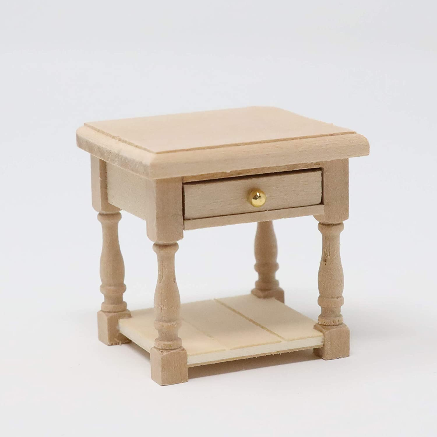 Dollhouse Miniature Unfinished Nightstand Side Table Set of 2 1:12 Scale