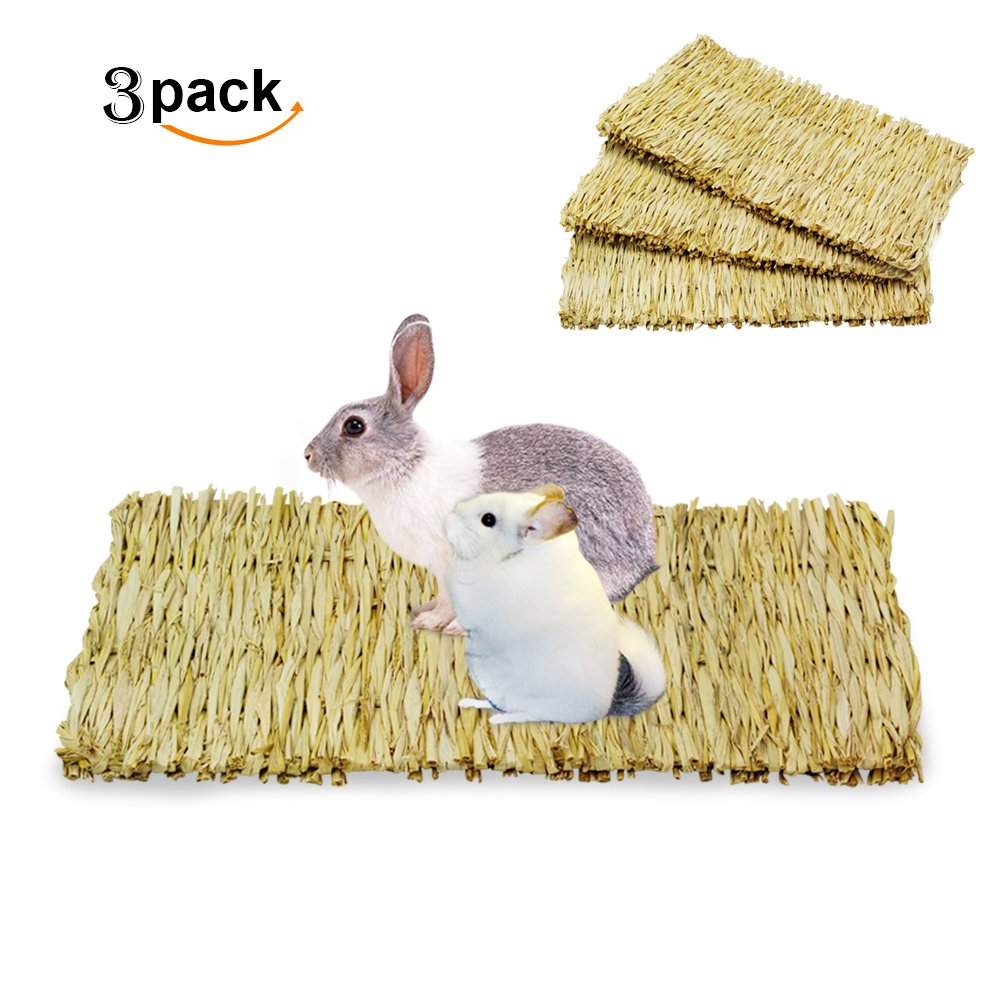 ULIGOTA Natural Woven Hay Mat for Rabbit Hamster Chinchilla Cage Bedding, Chew Toy for Guinea Pig Chinchilla Hamster - 3 Pack by ULIGOTA (Image #1)