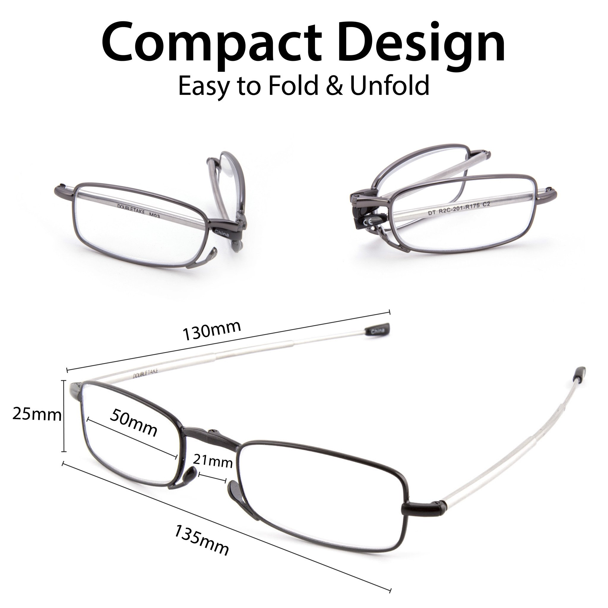 DOUBLETAKE 2 Pack Compact Folding Readers Reading Glasses w Case - 1.50x by DOUBLETAKE (Image #1)