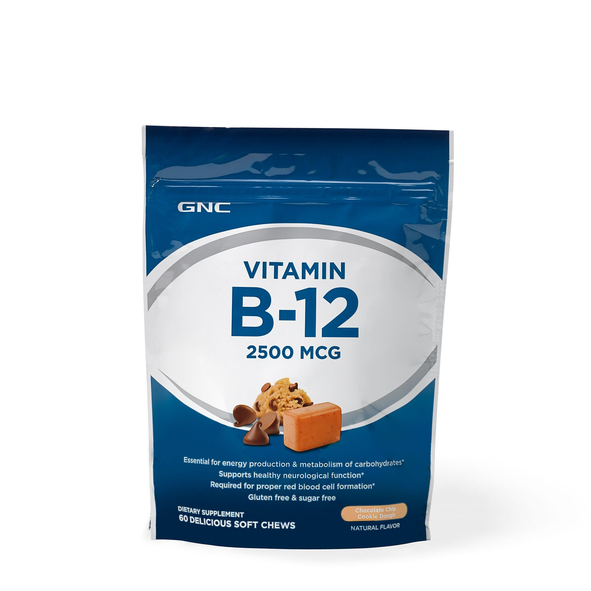 GNC Vitamin B-12 Soft Chew 2500mcg, Chocolate Chip Cookie Dough, 60 Chews
