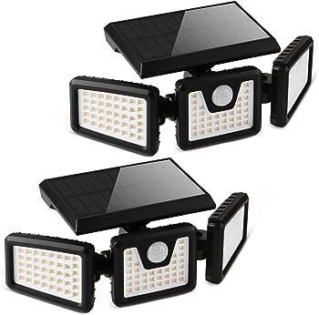 2-Pack Otdair 3-Head Solar Security Flood Lights