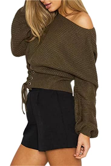 93f7212e30 Choies Women s Army Green Lace up Front Rib Knit Sweater Jumper at ...
