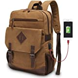 Modoker Mens Vintage Backpack for Men, Canvas Bookpack Fits Most 15.6 Inches Computer and Tablets