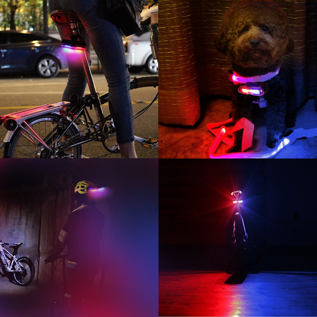 EFORCAR Bike Tail Light,USB Rechargeable LED Bicycle Rear Light with 3 Colors Light and 6 Lighting Modes Multipurpose Ultra Bright Waterproof Bike Warning Light for Riding by EFORCAR (Image #2)