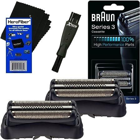 Braun 32B Casete de cabeza de lámina, negro (2 unidades) para Serie 3 (nueva generación) 300, 310, 320, 340S, 350 ...