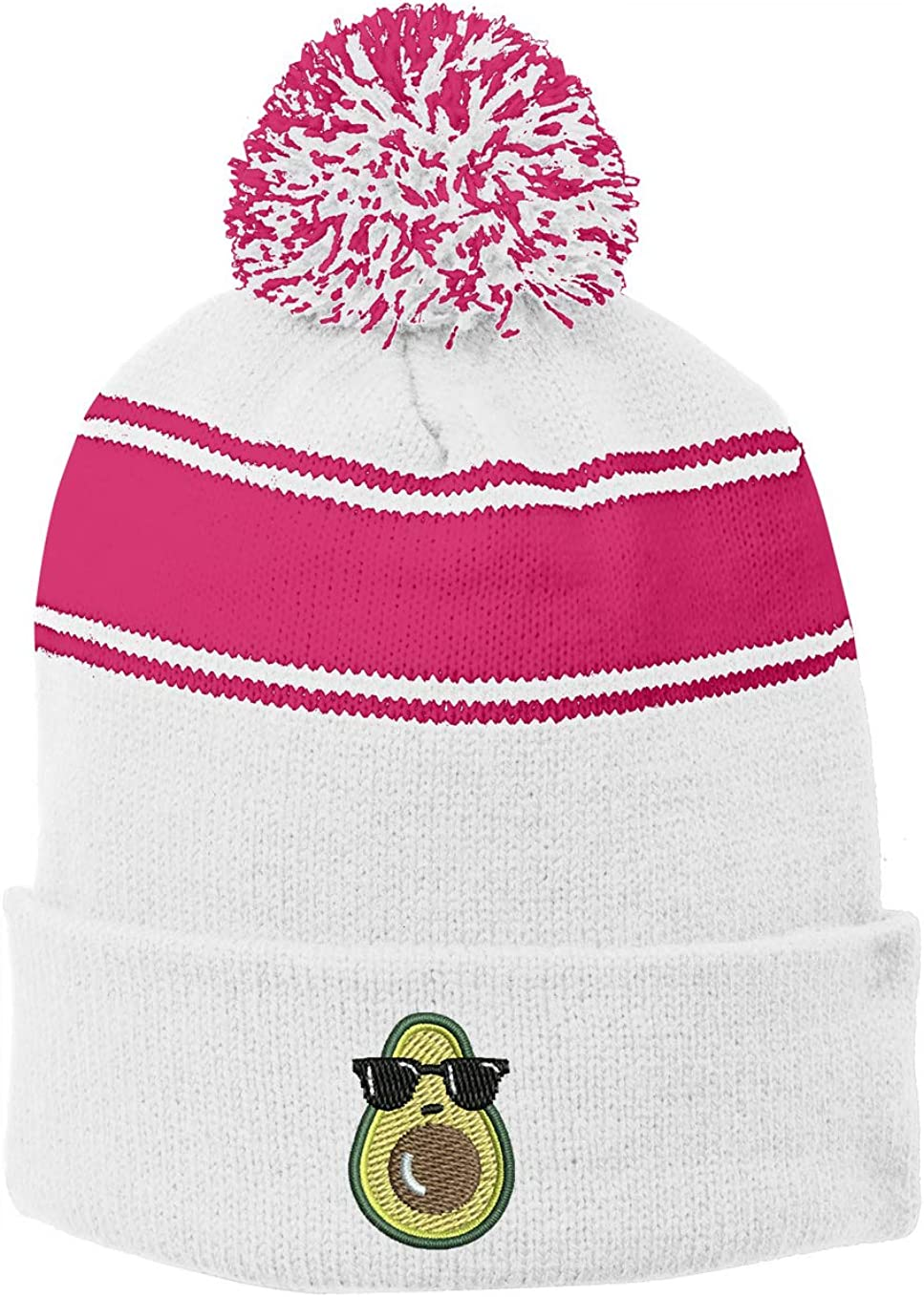6 Colors INK STITCH Stc28 Avocado Stripe Unisex Winter Pom Pom Beanie Hats