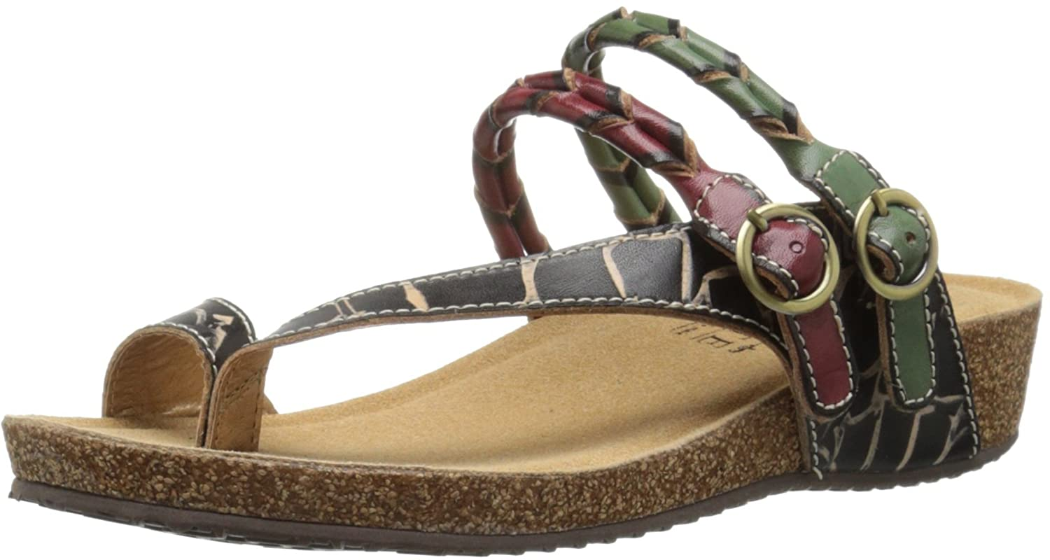 L'Artiste by Spring Step Women's Snall Toe Ring Sandal B015QV4K1M 42 EU/10.5-11 M US|Black/Multi