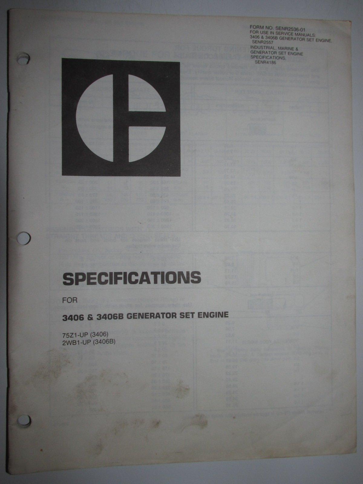 Caterpillar 3406 & 3406B Generator Set Engine Specifications Manual  SENR2536-01: Caterpillar: Amazon.com: Books