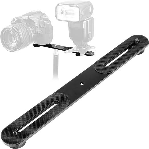RuleaxA Aluminium Alloy Camera Dual Hot Shoe Extension Bar Mount Bracket Flash Bracket Adapter Holder 1//4 Inch Screw Mounts for Flash Speedlite LED Video Light Microphone