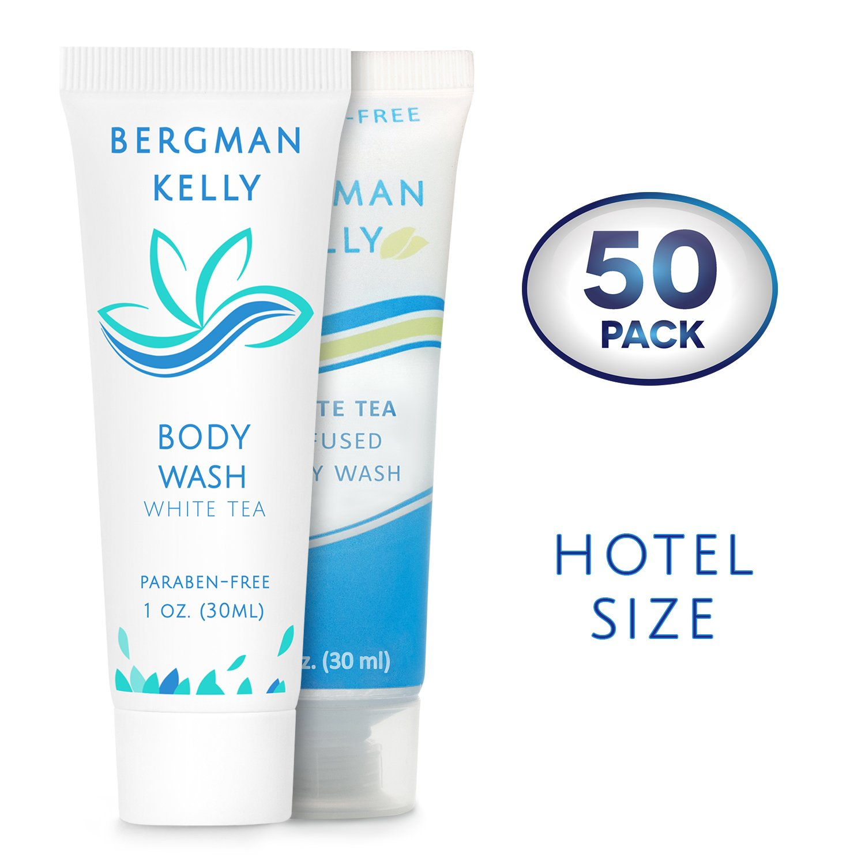 BERGMAN KELLY Travel Body Wash Hotel Toiletries (Hotel Size 1 Fl Oz, 50 Pack) Hotel Body Wash, Small Body Wash for Hotel Amenities, Mini Body Wash Bulk, Perfect for Travel Gym Charity