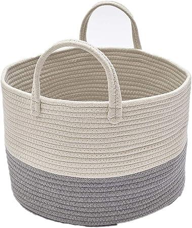 Zinsale Cuerda de algodón Cestos para la Colada Pom Pom Robusta Lavable Cesto de lavandería Juguetes para bebés Cesta de Almacenamiento de contenedores con asa (Gris): Amazon.es: Hogar